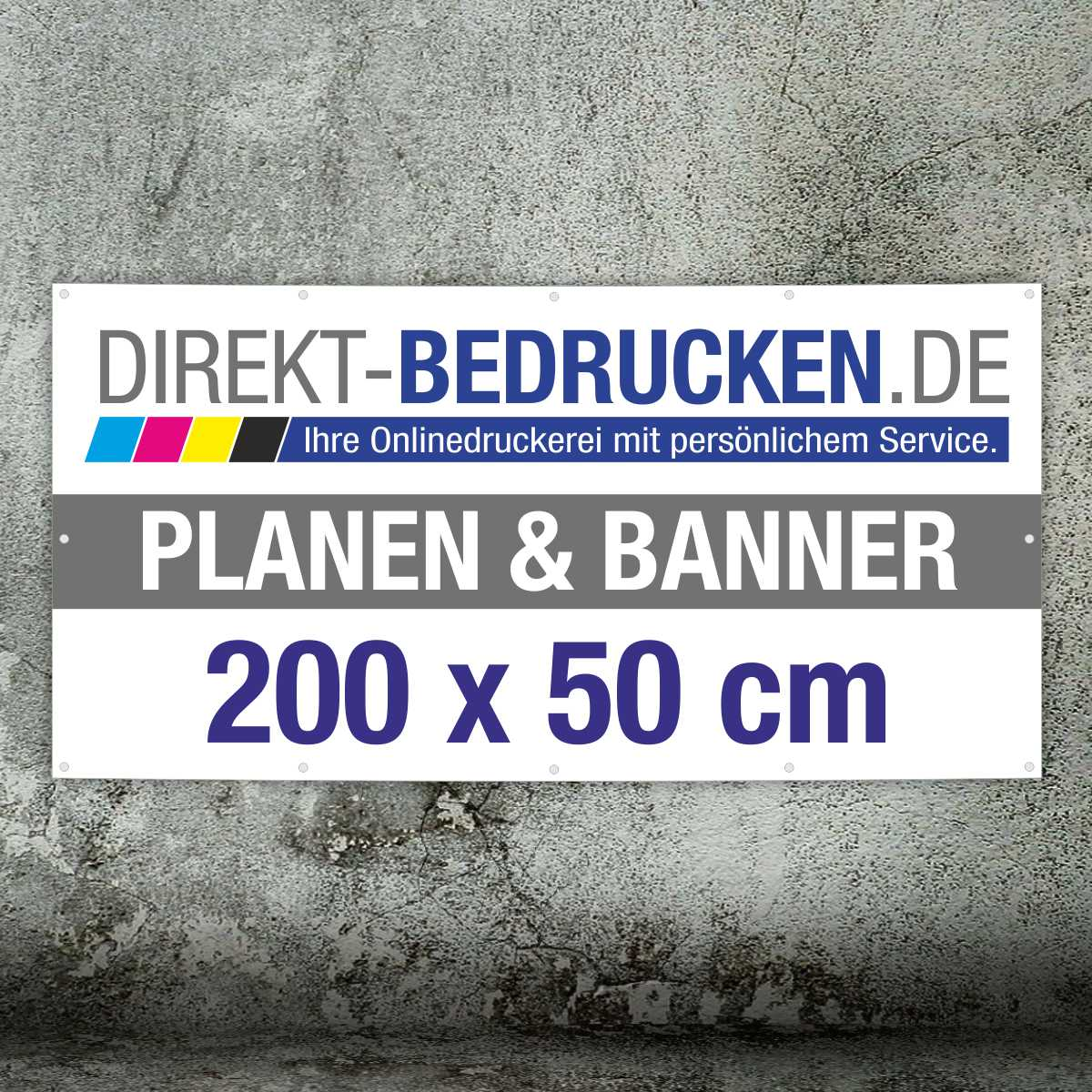 Werbebanner 200 x 50 cm | 4C-Druck | mit Ösen