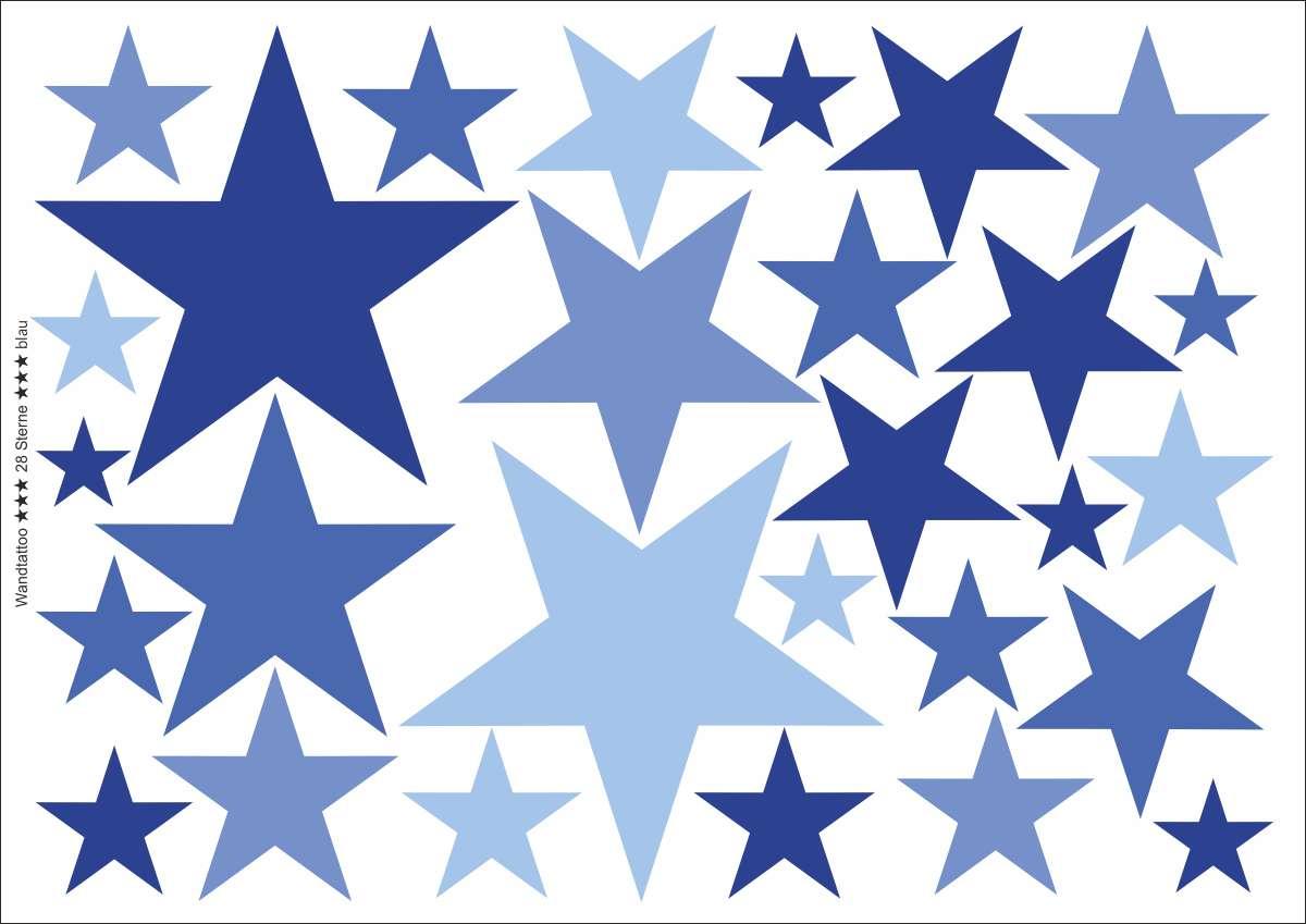 Wandtattoo ★★★ 28 Sterne auf DIN A4 Bogen
