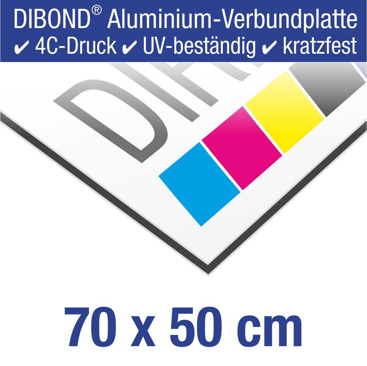 DIBOND® Schild mit 4C-Druck | 70 x 50 cm
