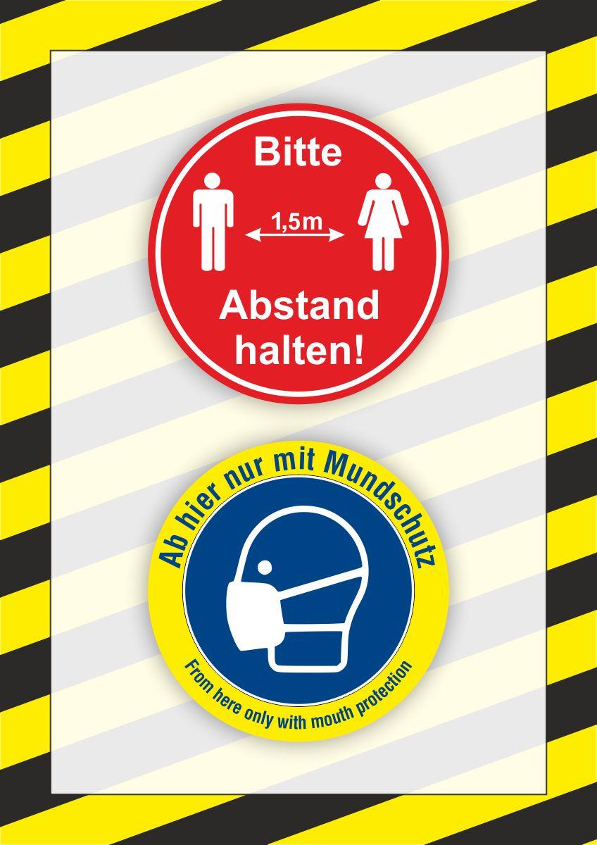 Kundenstopper Plakat DIN A1 | 'Abstand halten' + 'Nur mit Mundschutz'