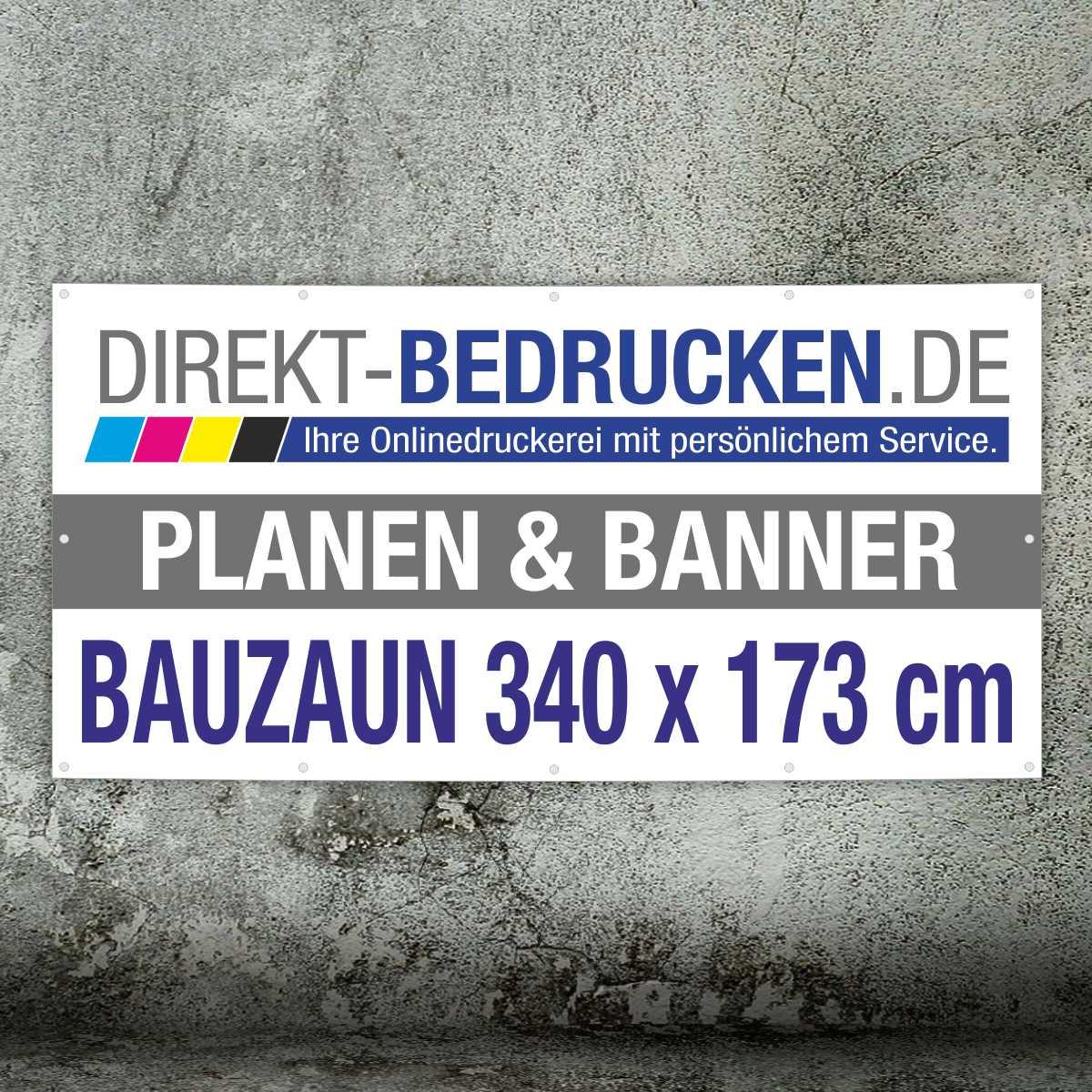 Werbebanner Bauzaunformat 340 x 173 cm   4C-Druck   mit Ösen   mit Saum