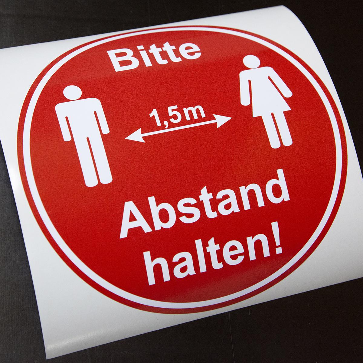 """Hinweisaufkleber """"Bitte 1,5m Abstand halten!"""" Ø10cm"""
