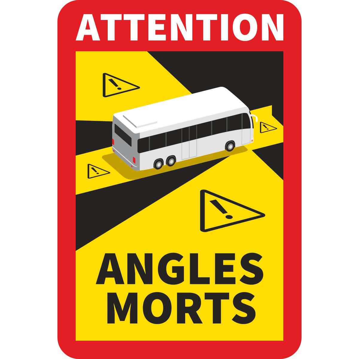 Toter Winkel - Aufkleber Frankreich ATTENTION ANGLES MORTS für Busse, Camper/Wohnmobile