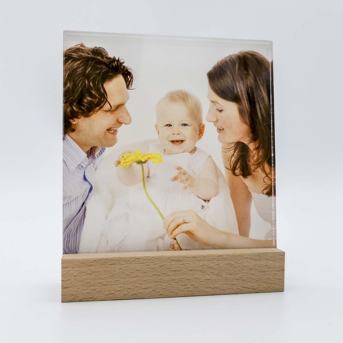 Fotodruck auf Acrylglas mit Buchenholz Sockel