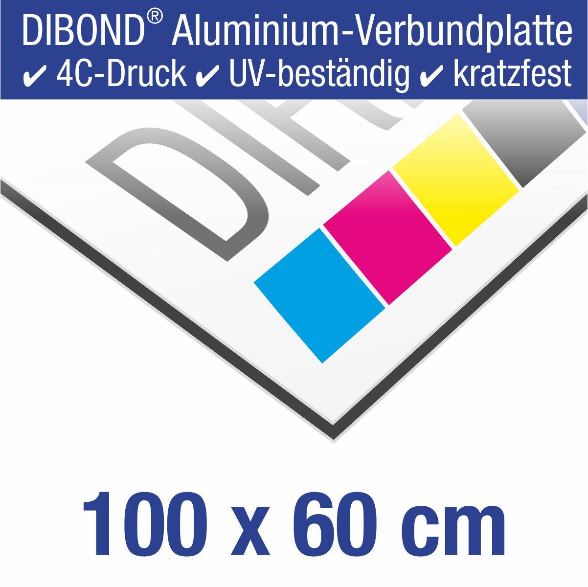 DIBOND® Schild mit 4C-Druck | 100 x 60 cm