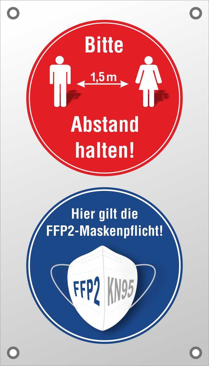 PVC-Banner 'Bitte Abstand halten!' und 'Hier gilt die Maskenpflicht!' 40 x 70 cm mit Ösen