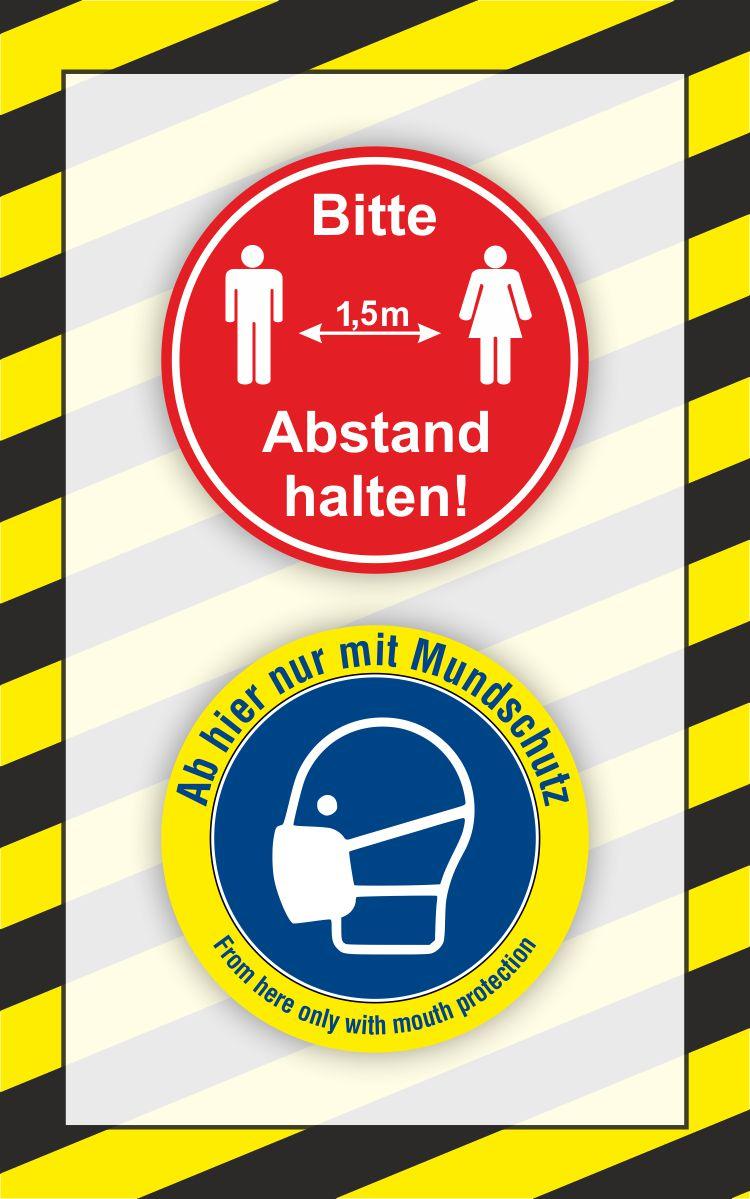 Aufkleber 'Bitte 1,5m Abstand halten!' & 'Ab hier nur mit Mundschutz' 25 x 40 cm