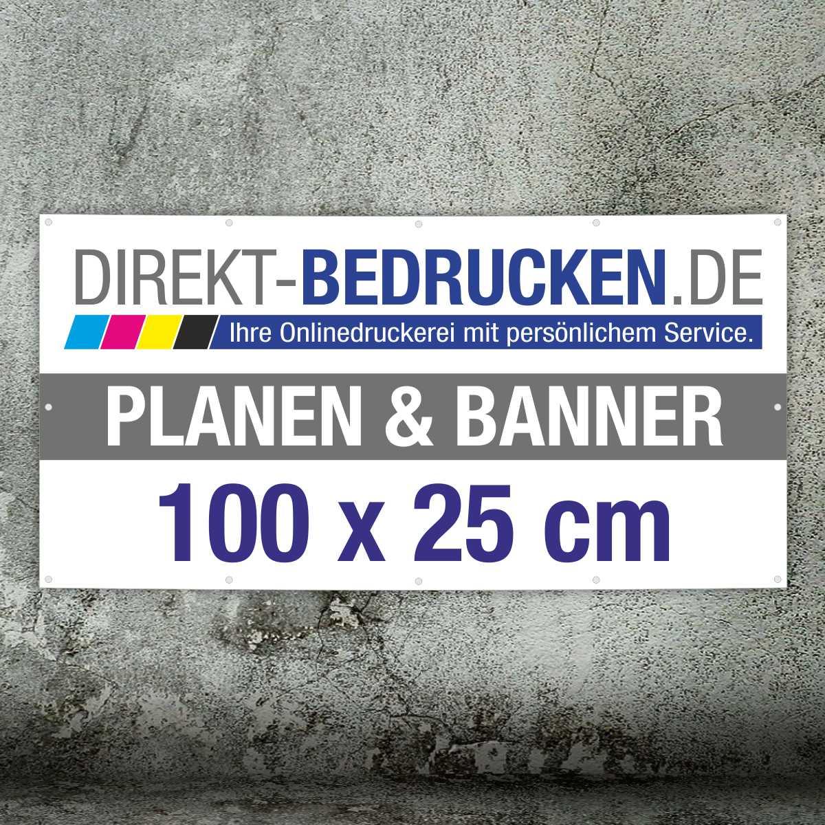 Werbebanner 100 x 25 cm | 4C-Druck | mit Ösen