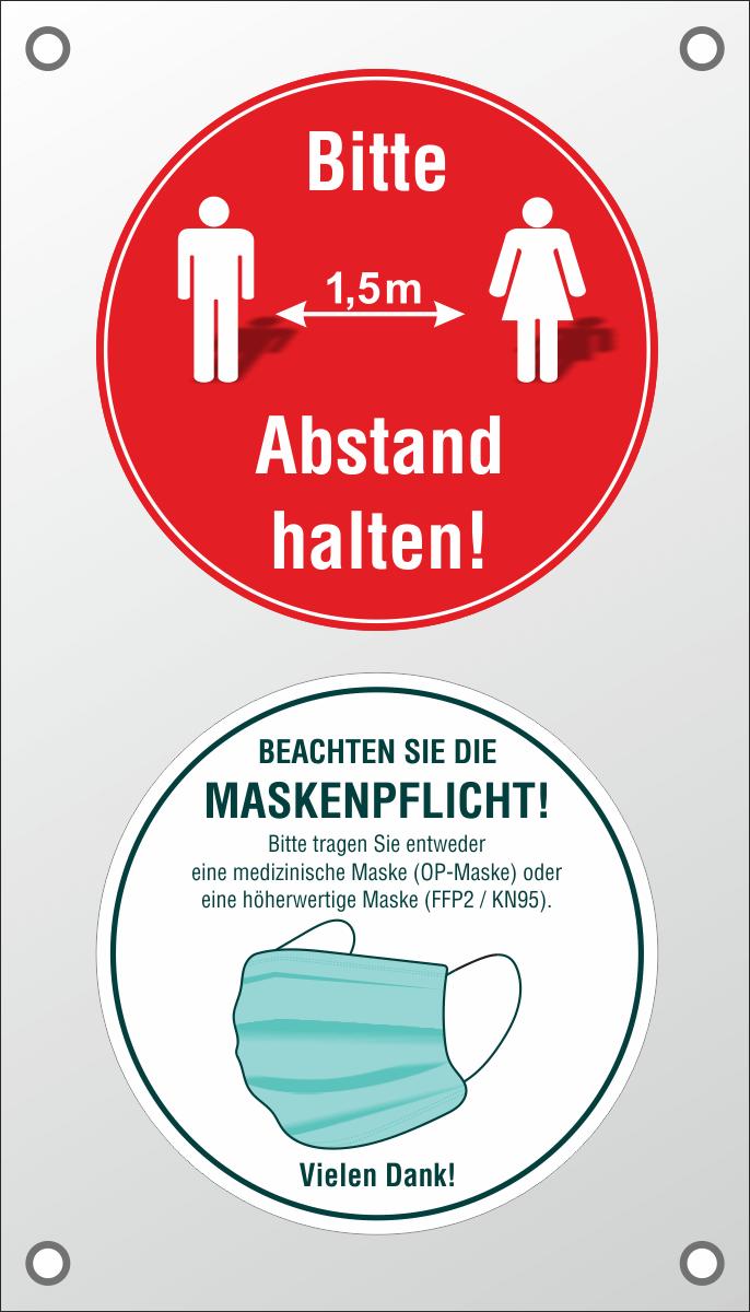 PVC-Banner 'Bitte 1,5m Abstand halten!' und 'Hier gilt die Maskenpflicht!' 40 x 70 cm mit Ösen